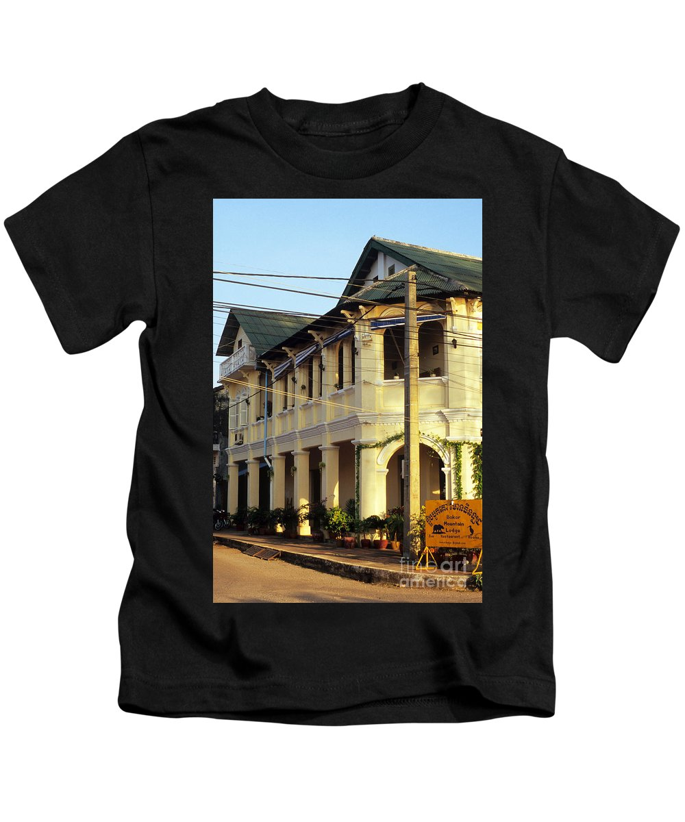 Cambodia Kids T-Shirt featuring the photograph Kampot Old Colonial 07 by Rick Piper Photography