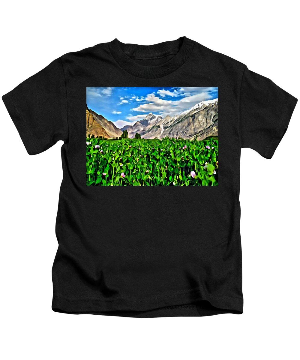 Nature Kids T-Shirt featuring the painting Kashmir Field by Florian Rodarte