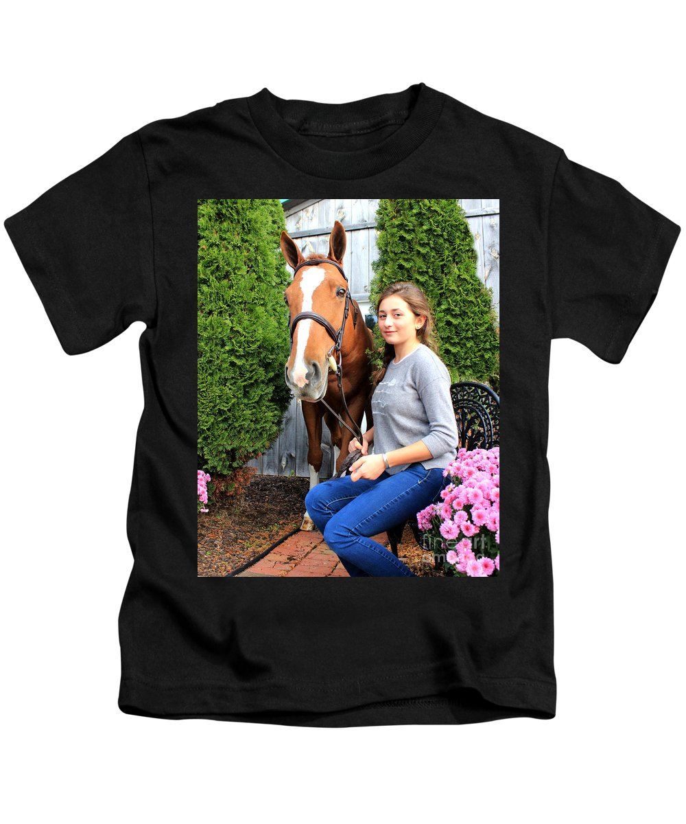 Kids T-Shirt featuring the photograph Katherine Pal 5 by Life With Horses