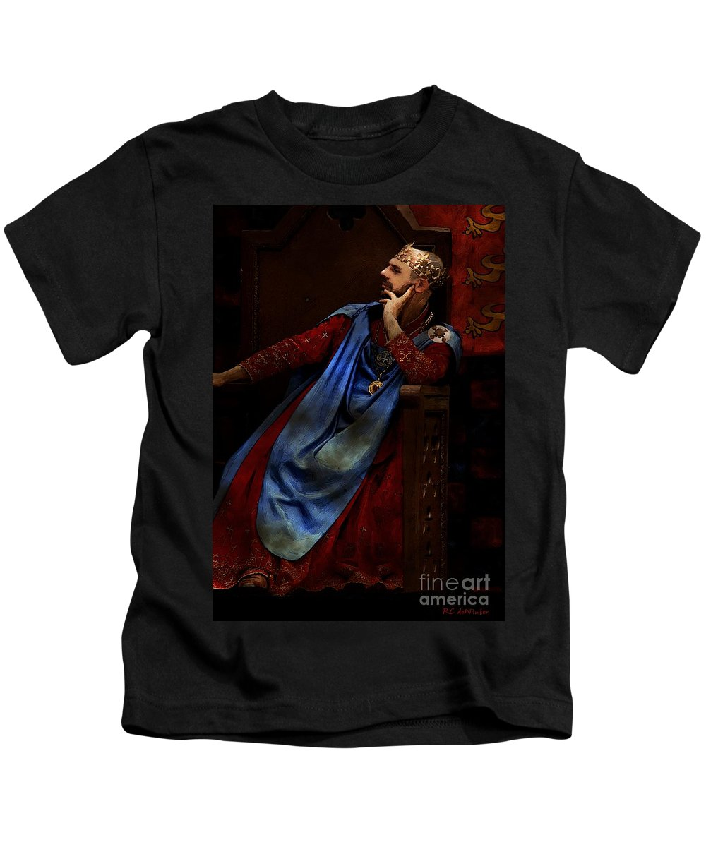Portrait Kids T-Shirt featuring the painting King John Ponders The Magna Carta by RC DeWinter