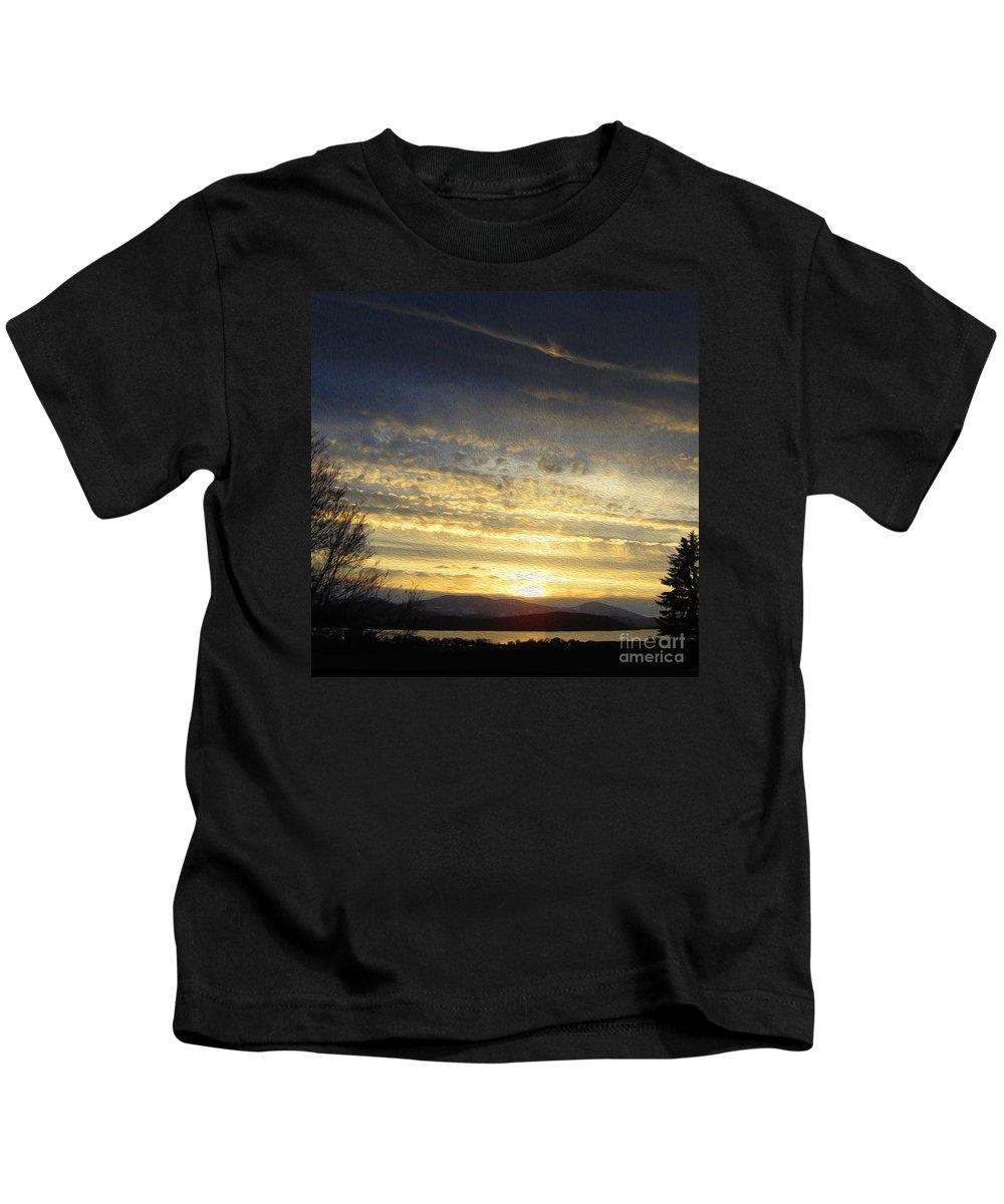 Golden Sunset Kids T-Shirt featuring the painting Klamath Lake Sunset by Todd L Thomas
