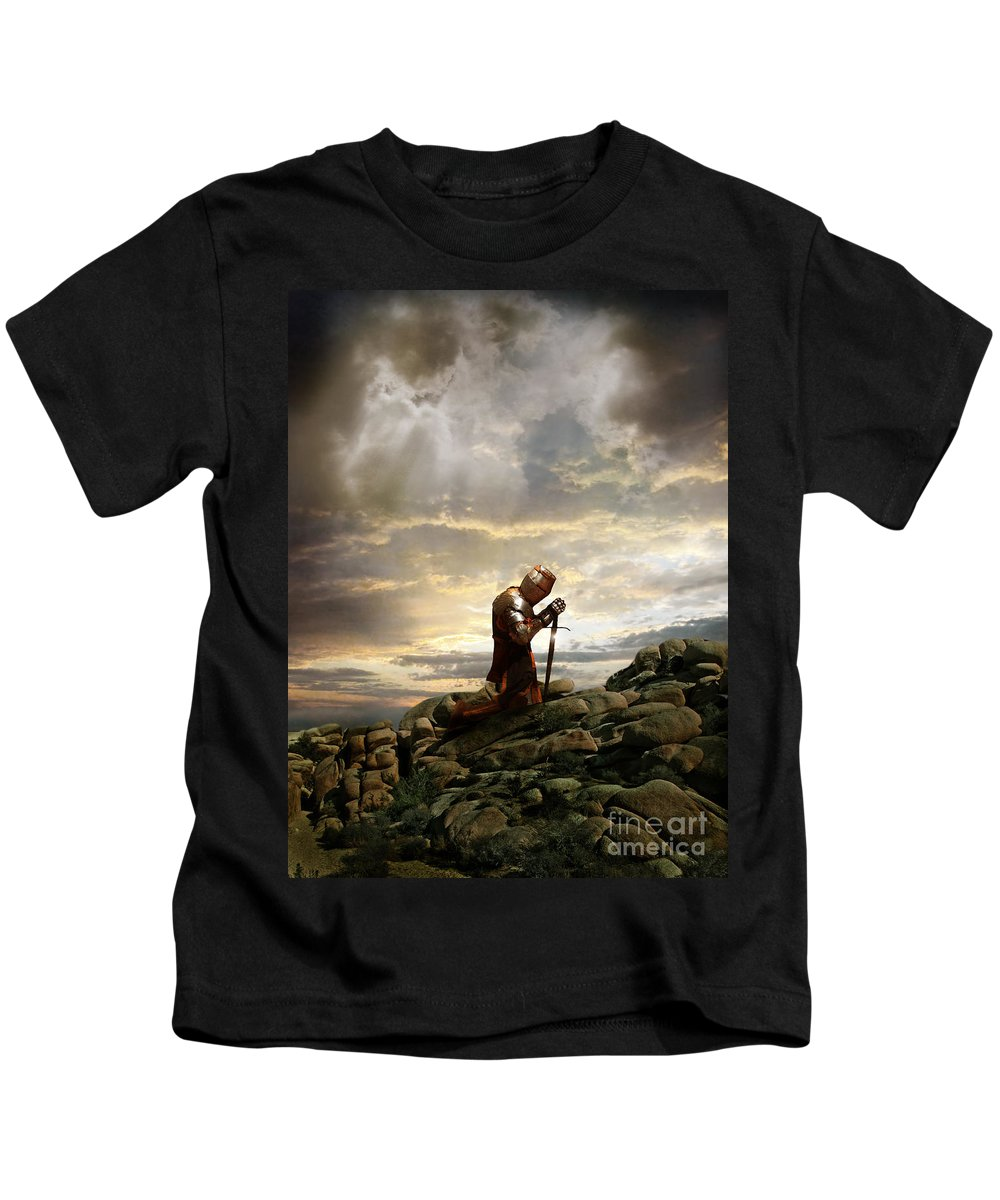 Knight Kids T-Shirt featuring the photograph Kneeling Knight by Jill Battaglia
