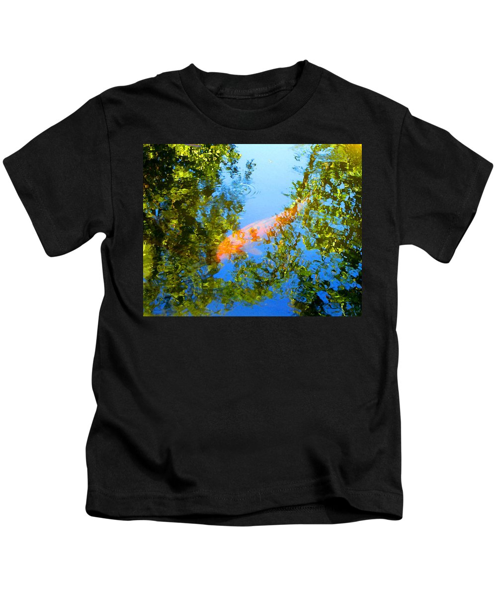 Animal Kids T-Shirt featuring the painting Koi Fish 3 by Amy Vangsgard