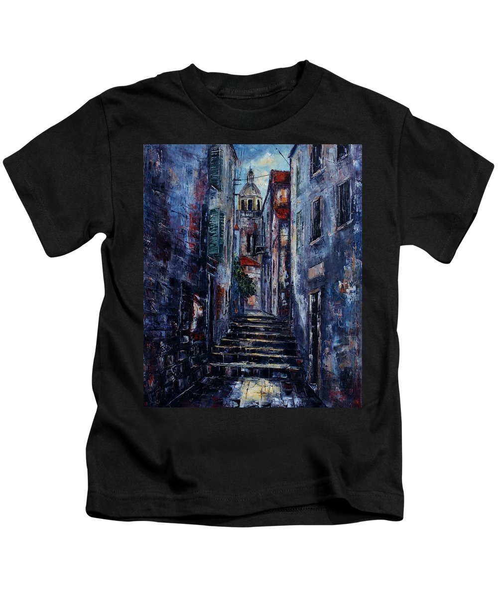 Architecture Kids T-Shirt featuring the painting Korcula - Old Town - Croatia by Miroslav Stojkovic - Miro