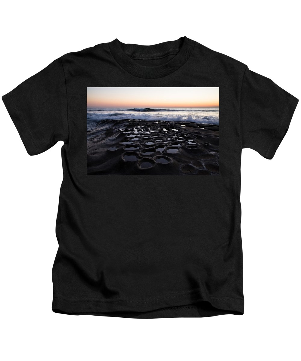 La Jolla Kids T-Shirt featuring the photograph La Jolla Surf Session by John Daly
