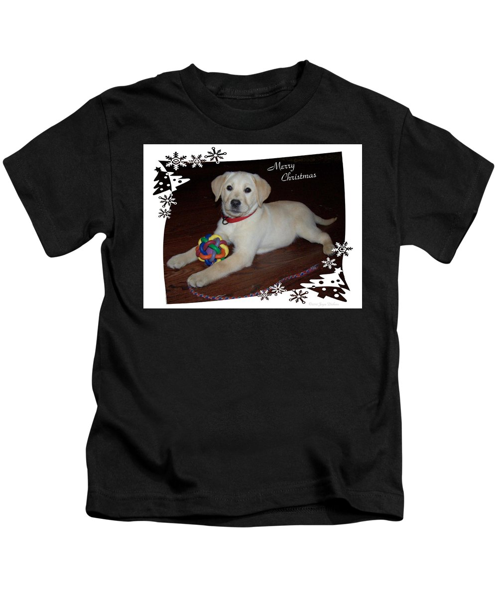 Christmas Kids T-Shirt featuring the photograph Lab Pup Merry Christmas by Joyce Dickens