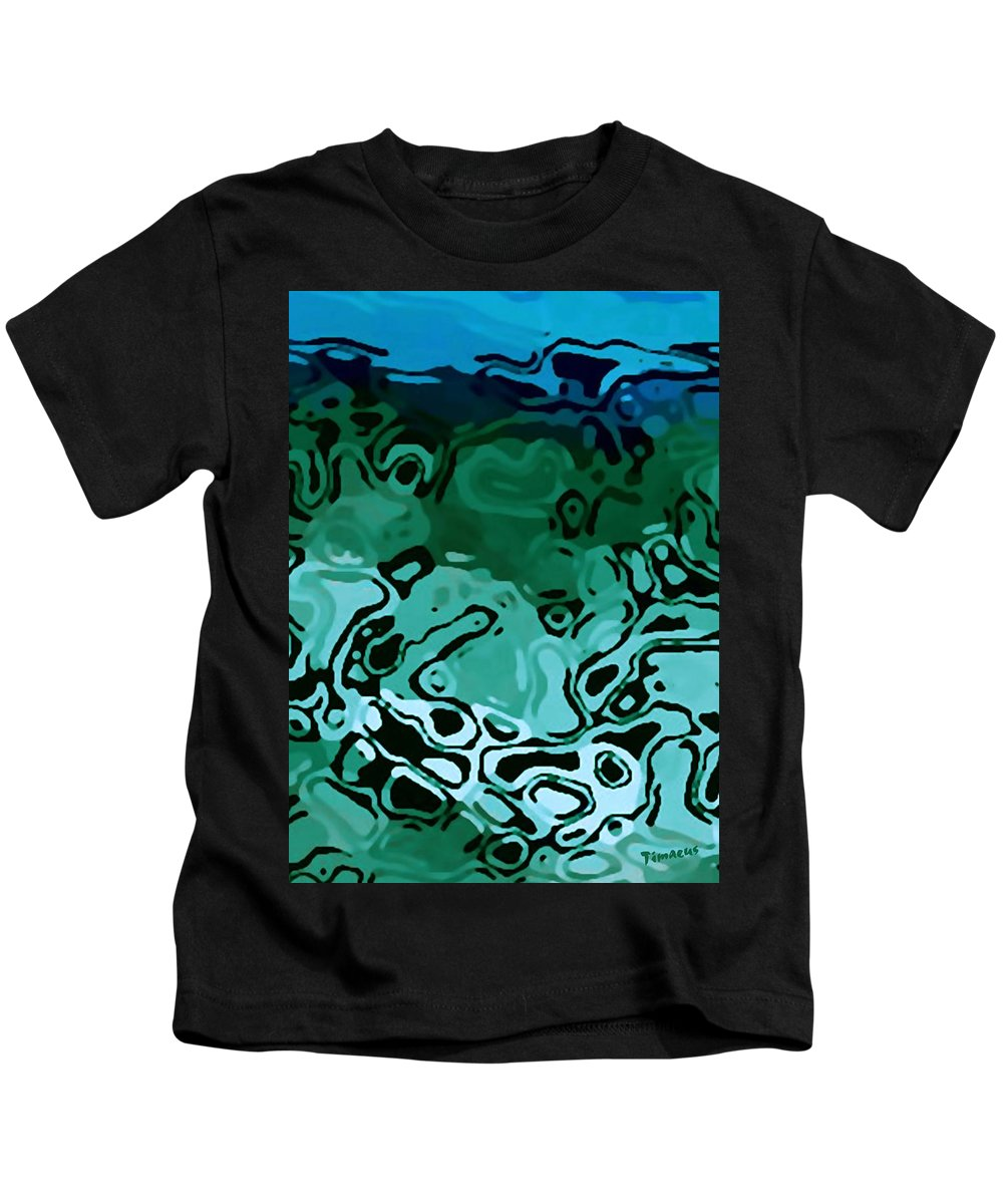Digital Clone Painting Kids T-Shirt featuring the digital art Abiquiu Reservoir Lakebed by Tim Richards