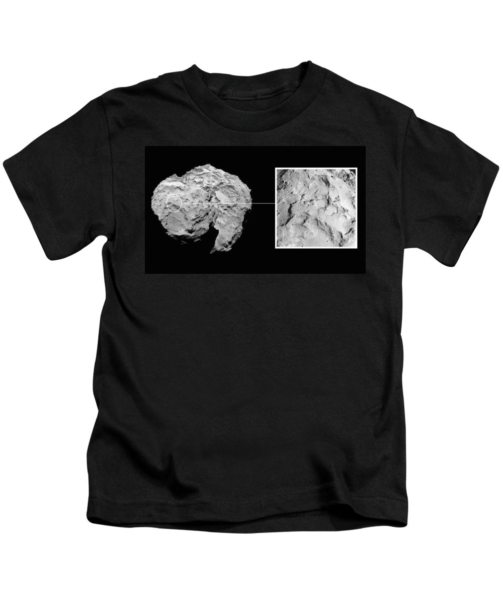 Comet Kids T-Shirt featuring the photograph Landing Site On Comet 67pc-g In Context by Science Source
