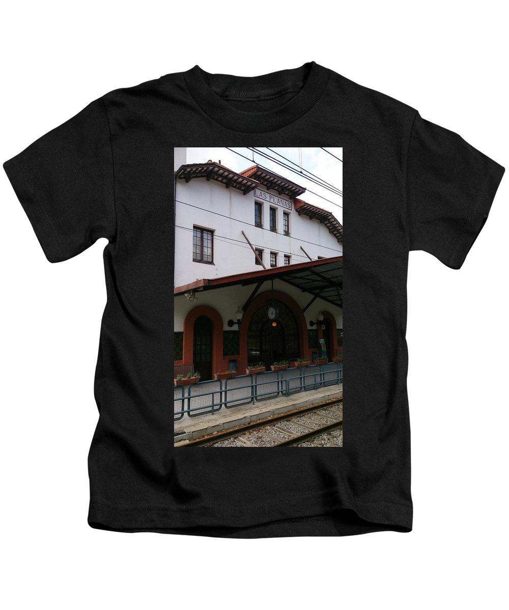 Las Planas Kids T-Shirt featuring the photograph Las Planas Train Station by Moshe Harboun
