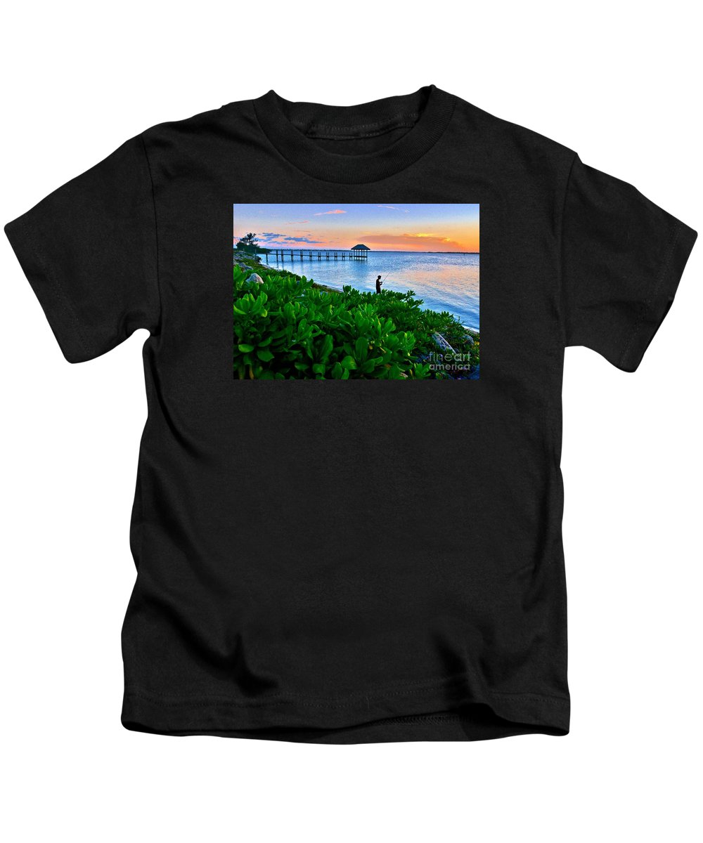 Pier Kids T-Shirt featuring the photograph Last Cast by Lisa Renee Ludlum