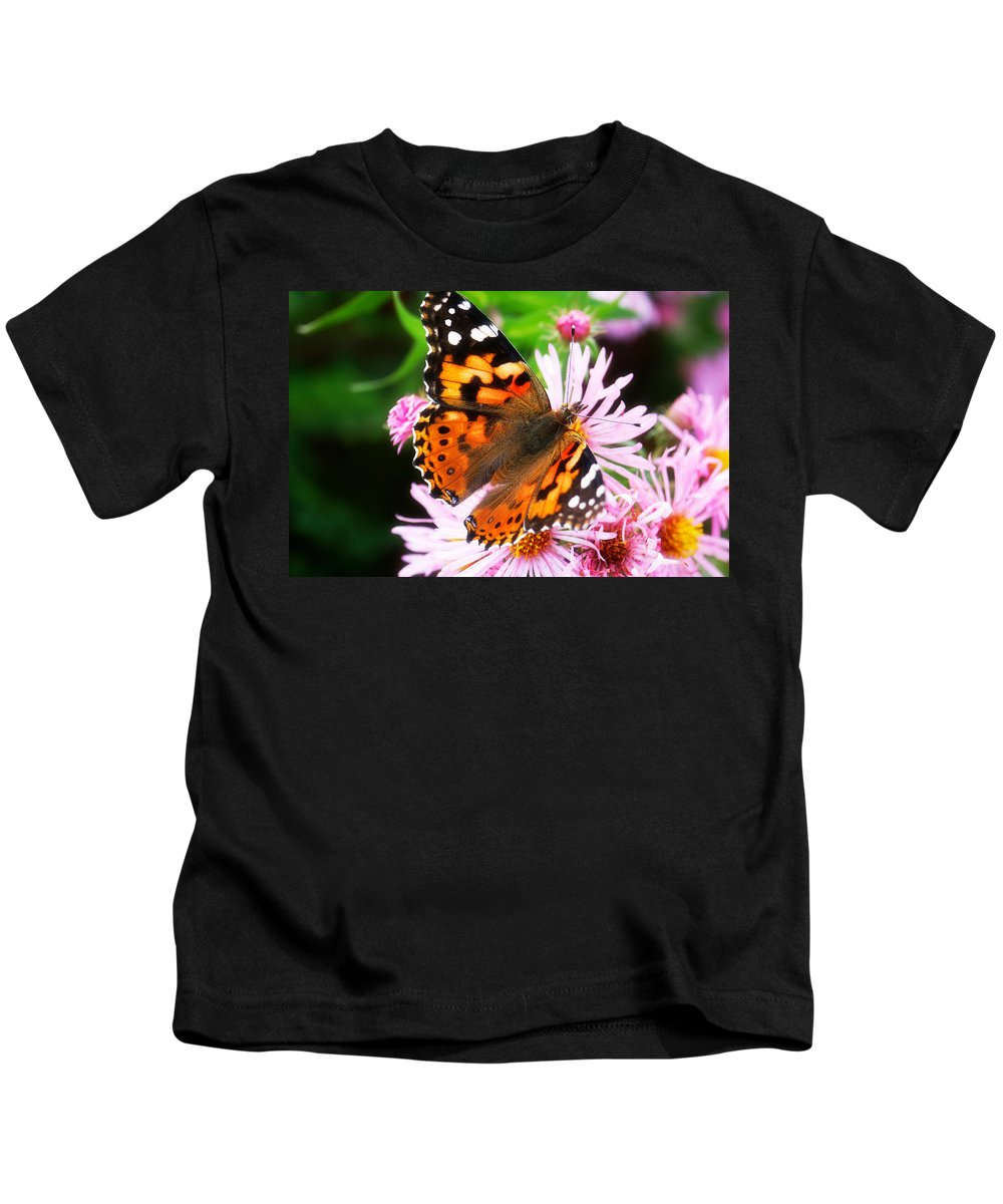 Flower Kids T-Shirt featuring the photograph Late Summer Painted Lady by Marilyn Hunt
