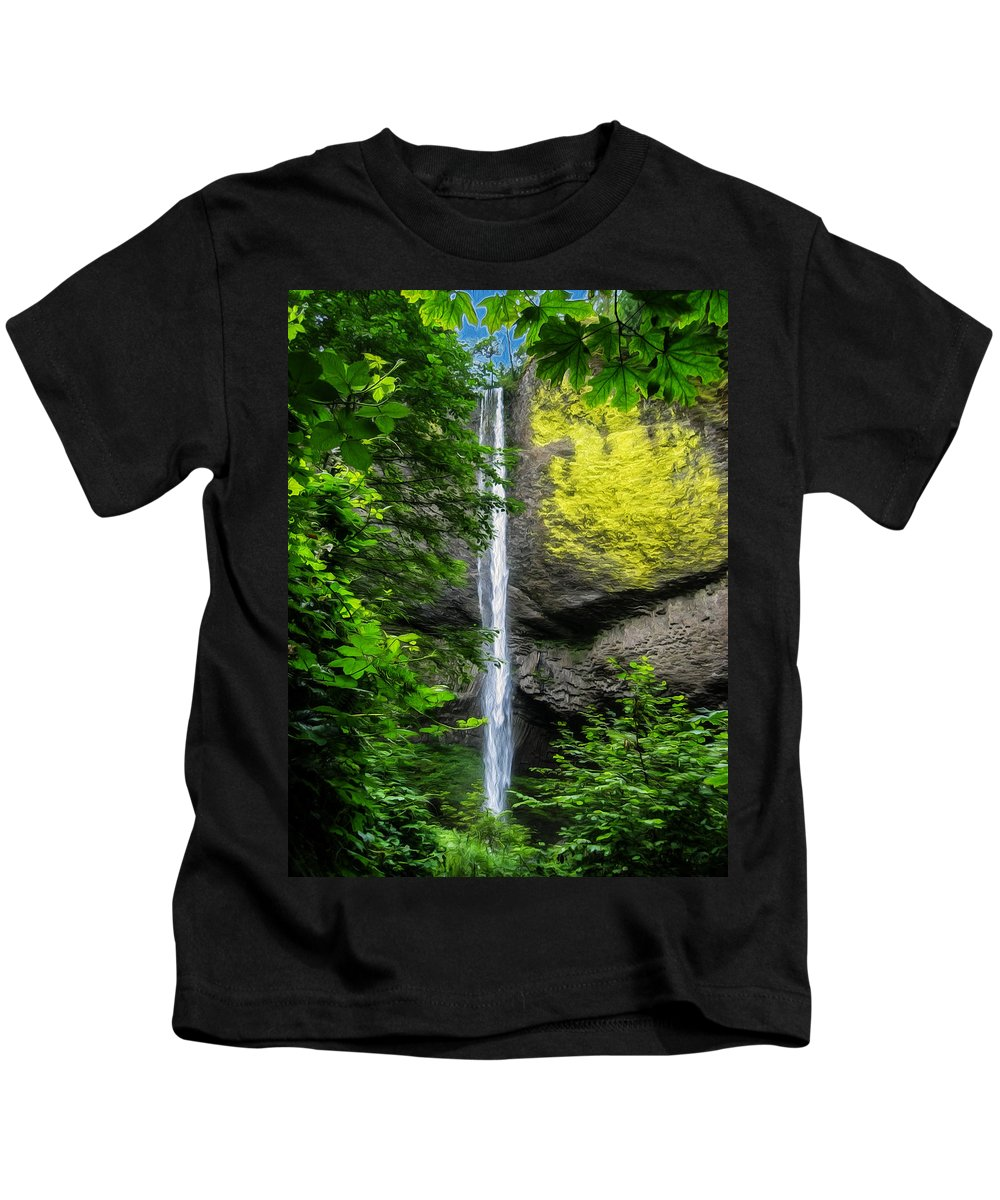 Latourelle Falls Kids T-Shirt featuring the painting Latourelle Falls by John Haldane
