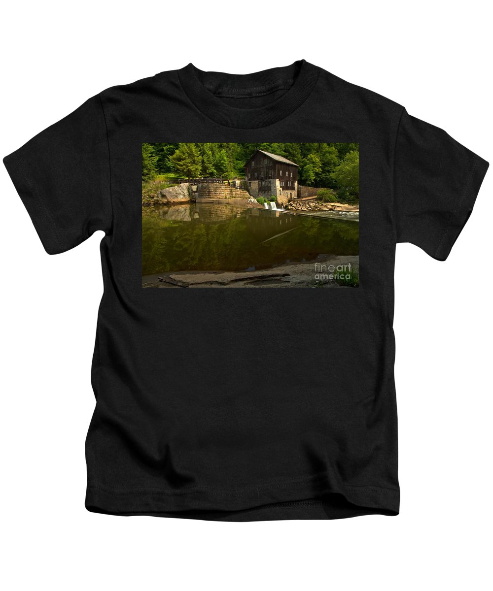 Mcconnells Mill State Park Kids T-Shirt featuring the photograph Lawrence County Grist Mill by Adam Jewell