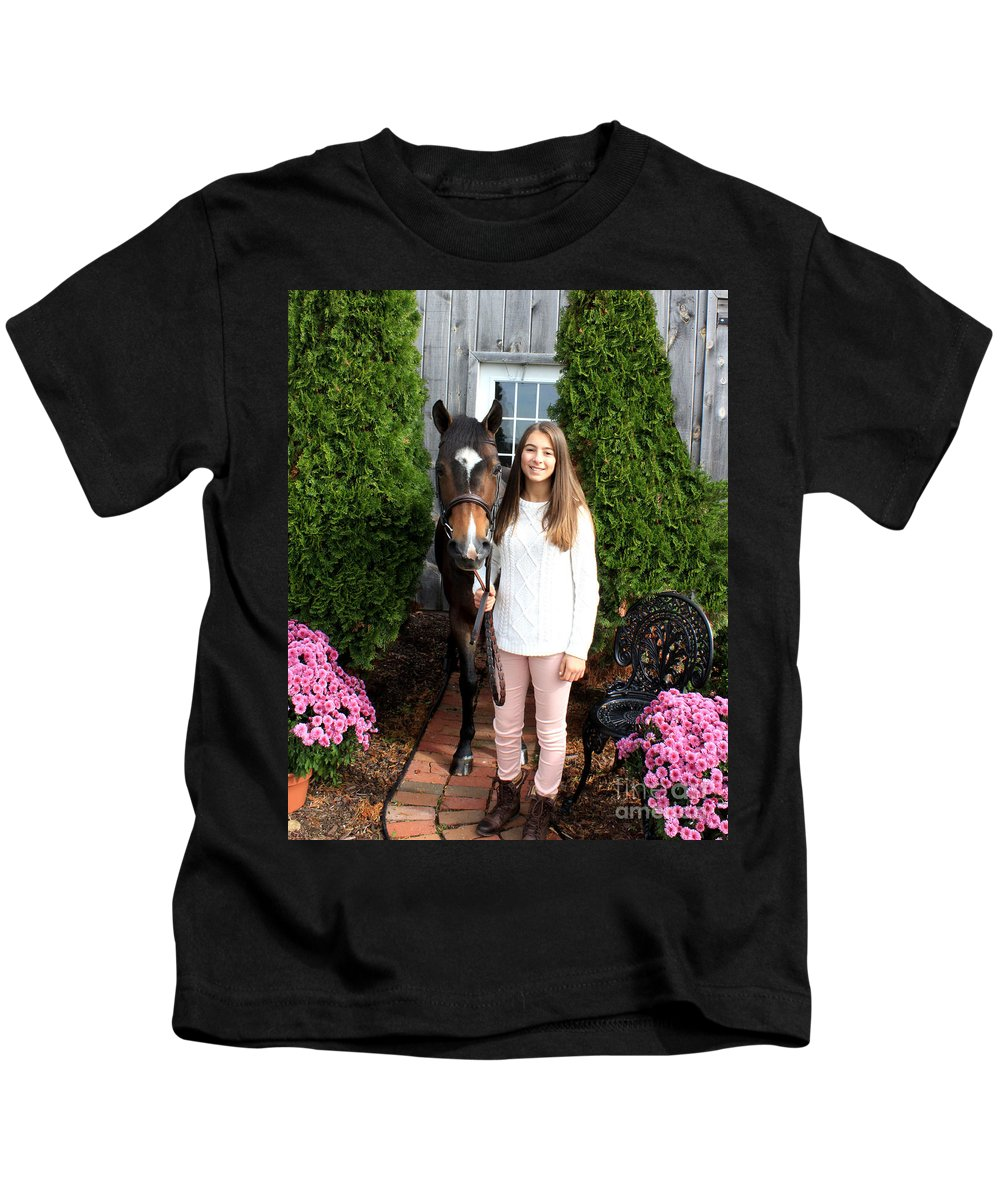 Kids T-Shirt featuring the photograph Leanna Abbey 2 by Life With Horses