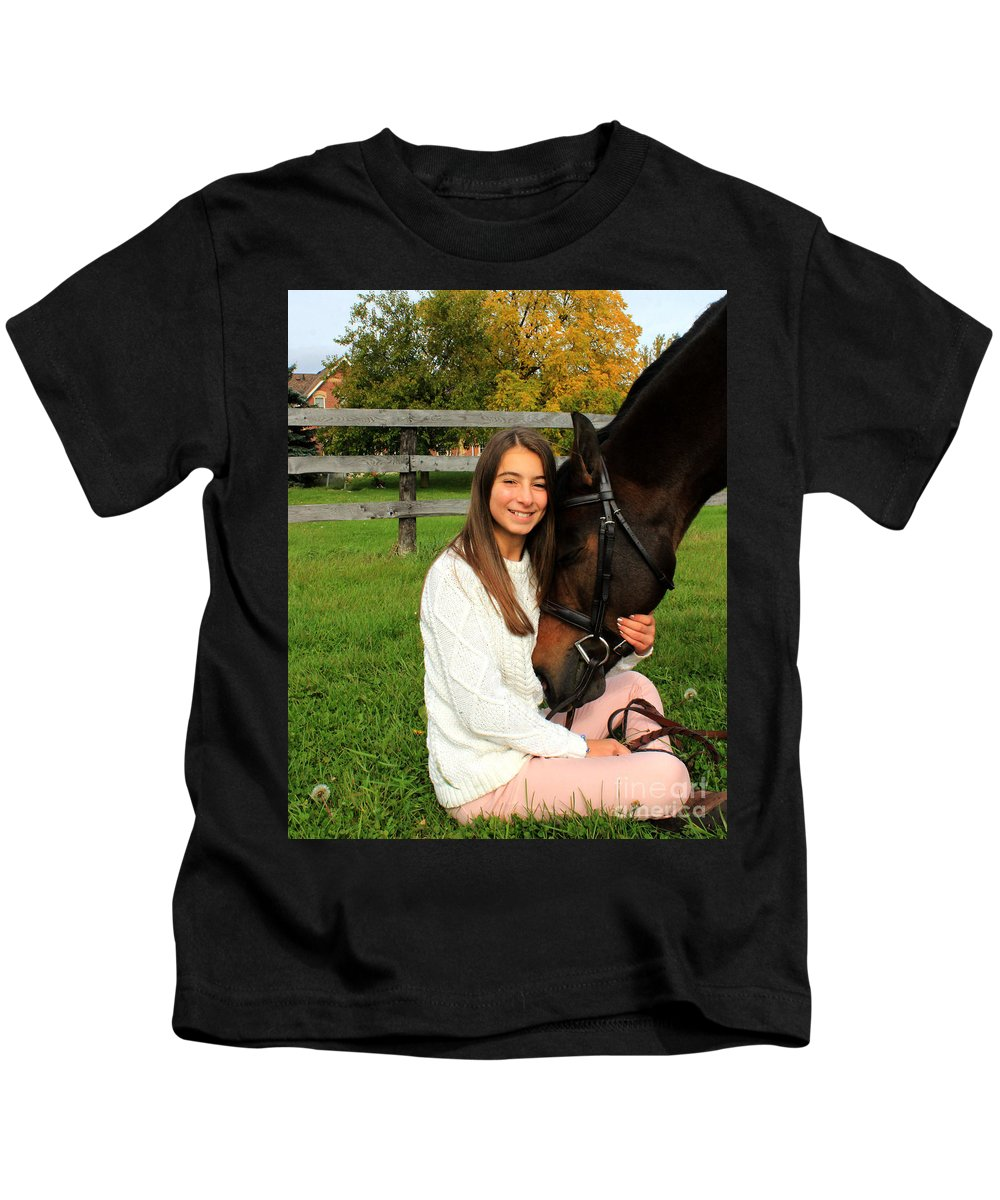 Kids T-Shirt featuring the photograph Leanna Abbey 22 by Life With Horses