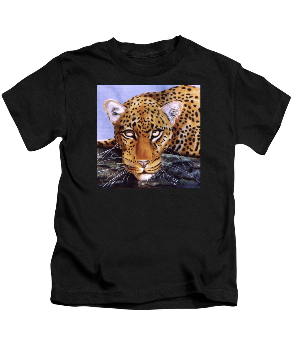 Leopard Kids T-Shirt featuring the painting Leopard In A Tree by Thomas J Herring