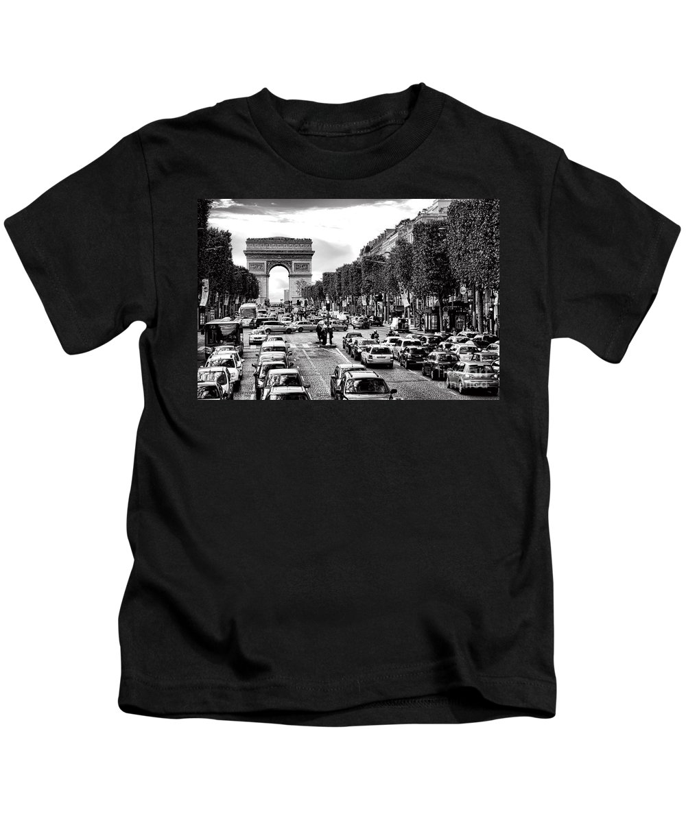 France Kids T-Shirt featuring the photograph Les Champs Elysees by Olivier Le Queinec
