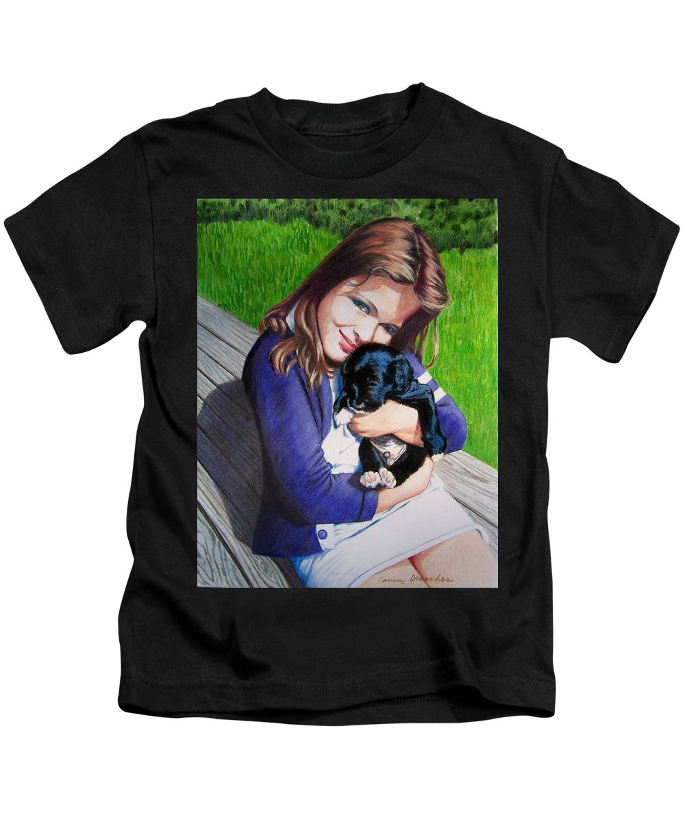 Girl Kids T-Shirt featuring the mixed media Leslie And Sergeant by Constance Drescher