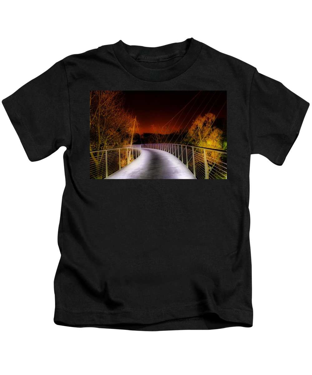 Greenville Kids T-Shirt featuring the painting Liberty Bridge At Night by Lynne Jenkins