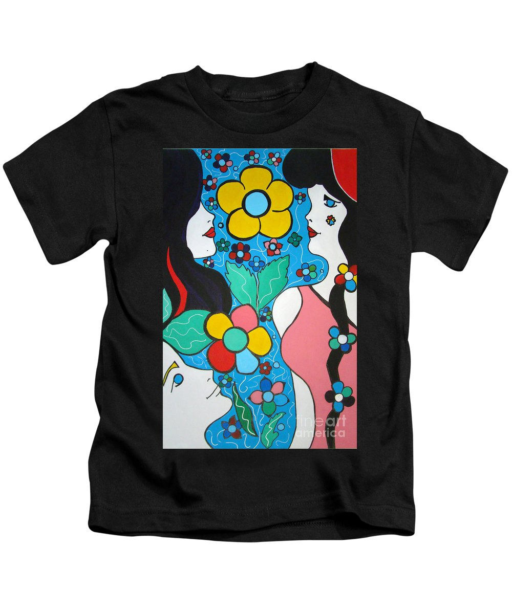 Pop Art Kids T-Shirt featuring the painting Life Is Beautiful by Silvana Abel