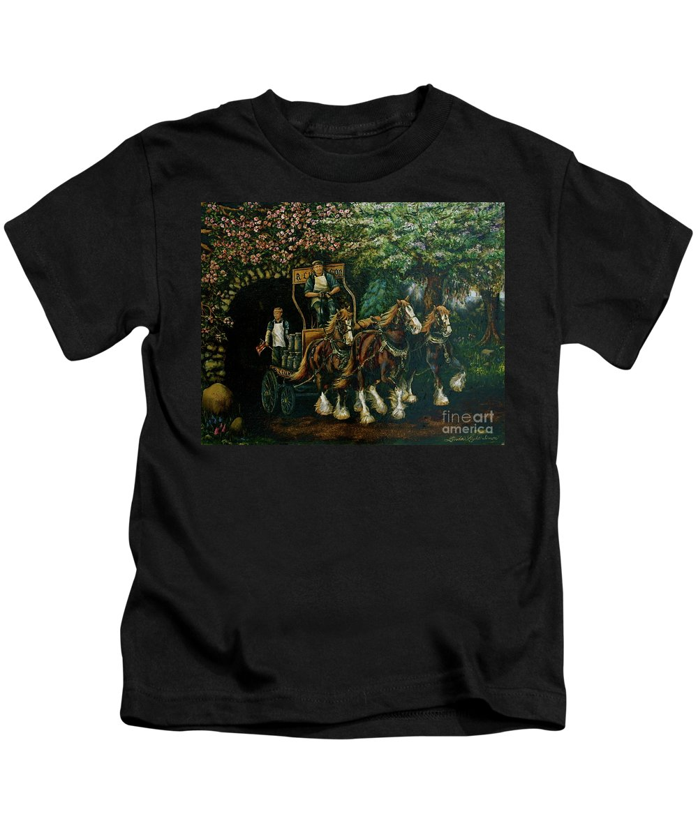 Kids T-Shirt featuring the painting Light Touch by Linda Simon