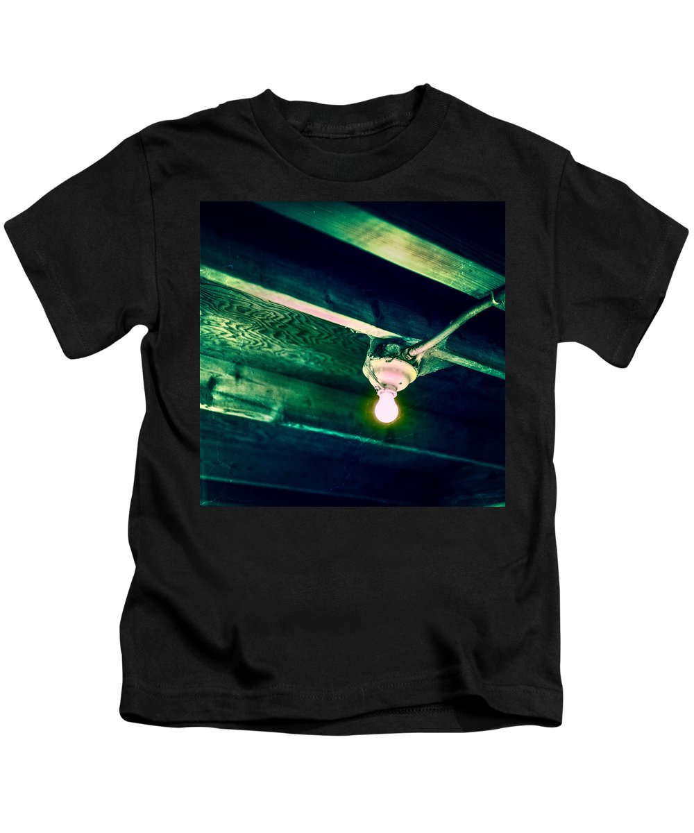 B&w Kids T-Shirt featuring the photograph Lightbulb And Cobwebs by YoPedro