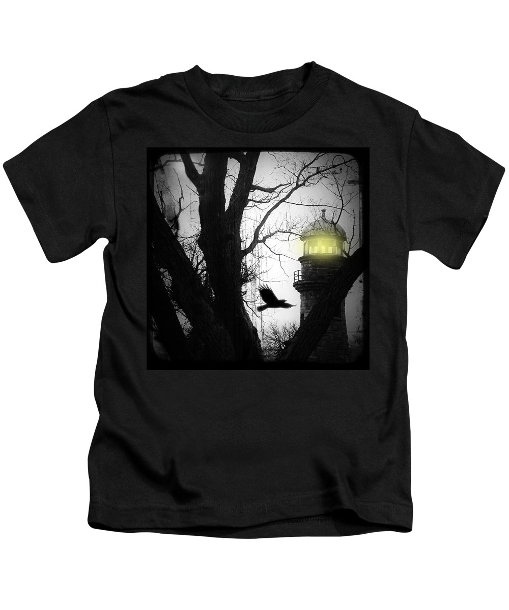 Lighthouse Kids T-Shirt featuring the photograph The Lighthouse Is Lit by Gothicrow Images