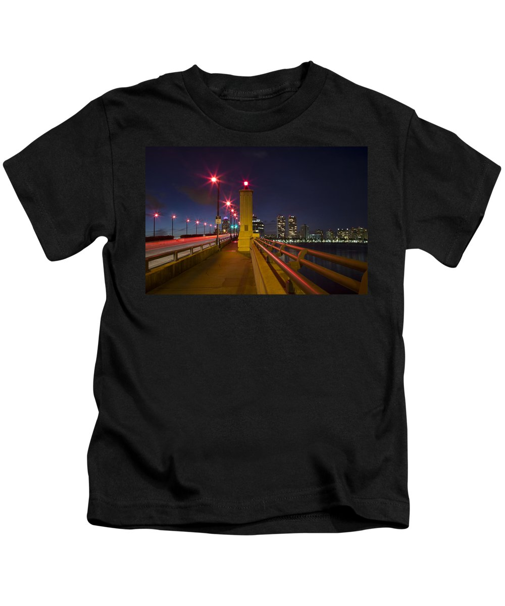 Clouds Kids T-Shirt featuring the photograph Lights At Night by Debra and Dave Vanderlaan