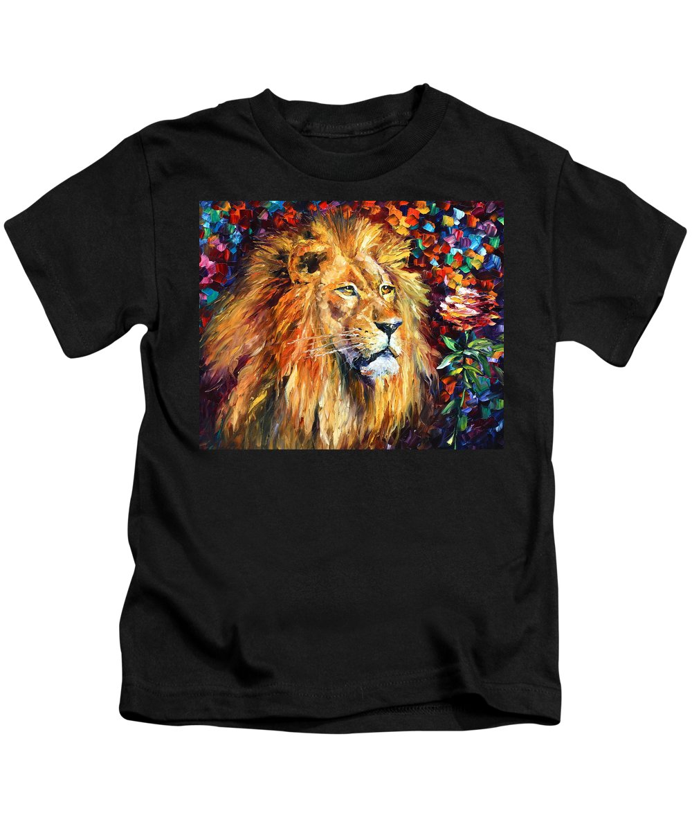 Afremov Kids T-Shirt featuring the painting Lion by Leonid Afremov