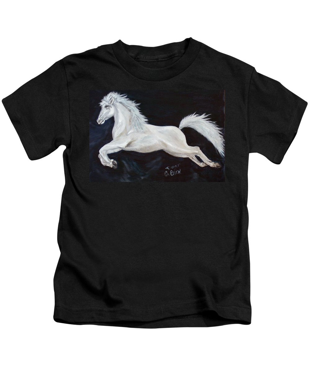 Horse Kids T-Shirt featuring the painting Lipizzaner Capriole by Caroline Owen-Doar