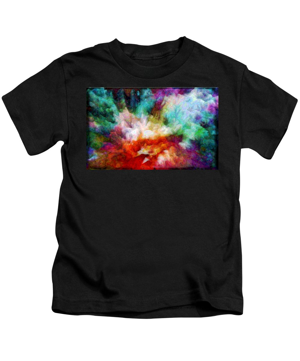 Abstract Kids T-Shirt featuring the digital art Liquid Colors - Enamel Edition by Lilia D