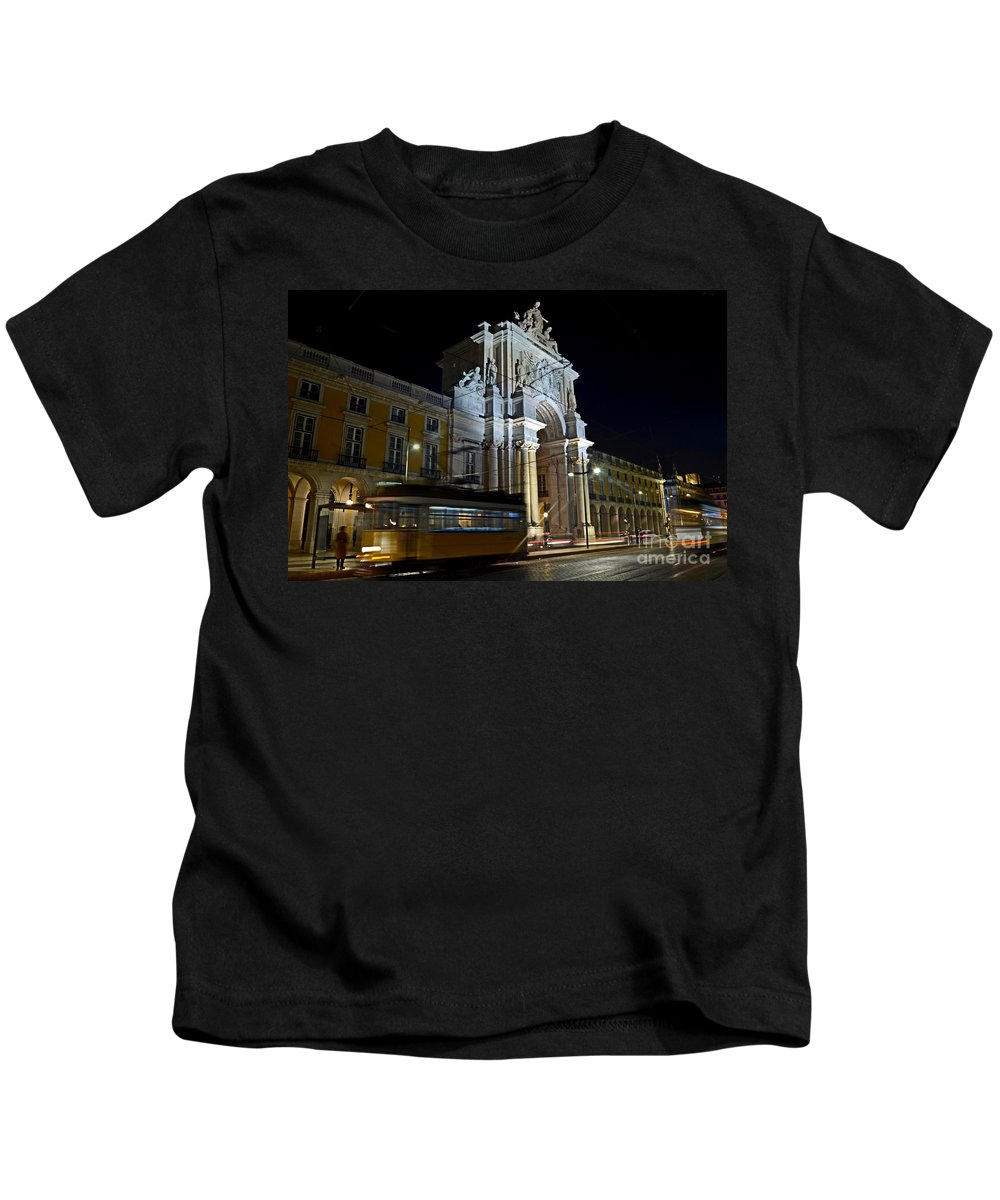 Architecture Kids T-Shirt featuring the photograph Lisbon - Portugal - Street Cars At Praca Do Comercio Or Terreiro by Carlos Alkmin