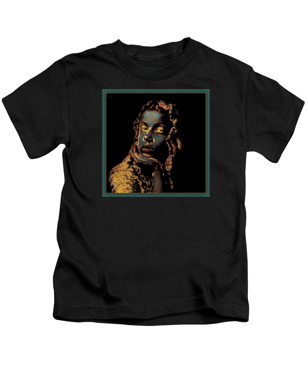 Portrait Kids T-Shirt featuring the mixed media Listening To The Silence by Freddy Kirsheh