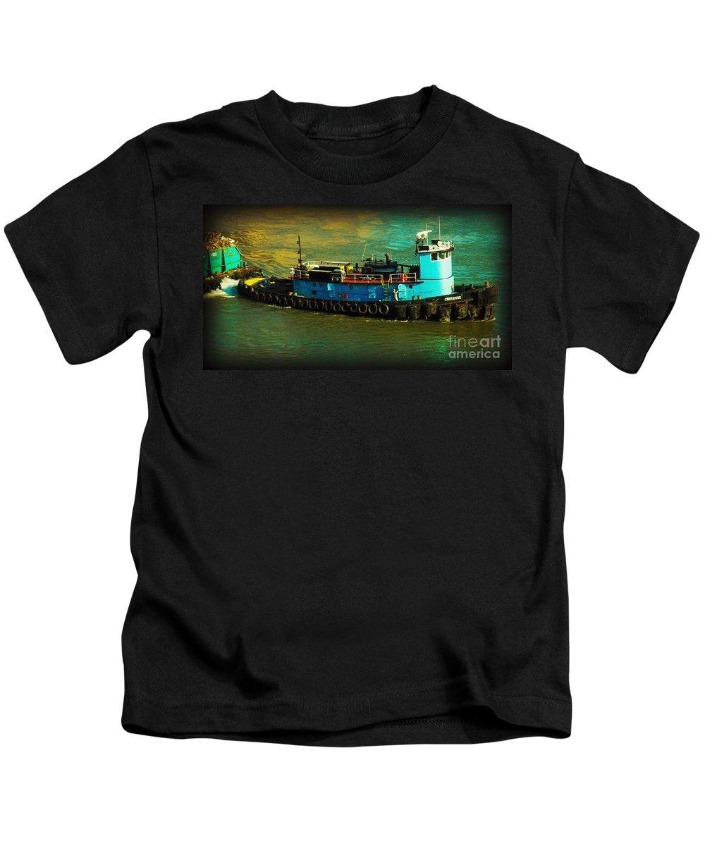 Urban Landscape Kids T-Shirt featuring the photograph Little Blue Tug - New York City by Miriam Danar