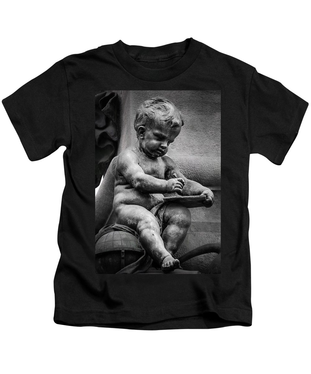 Child Kids T-Shirt featuring the photograph Little Boy Made Of Stone by Sotiris Filippou