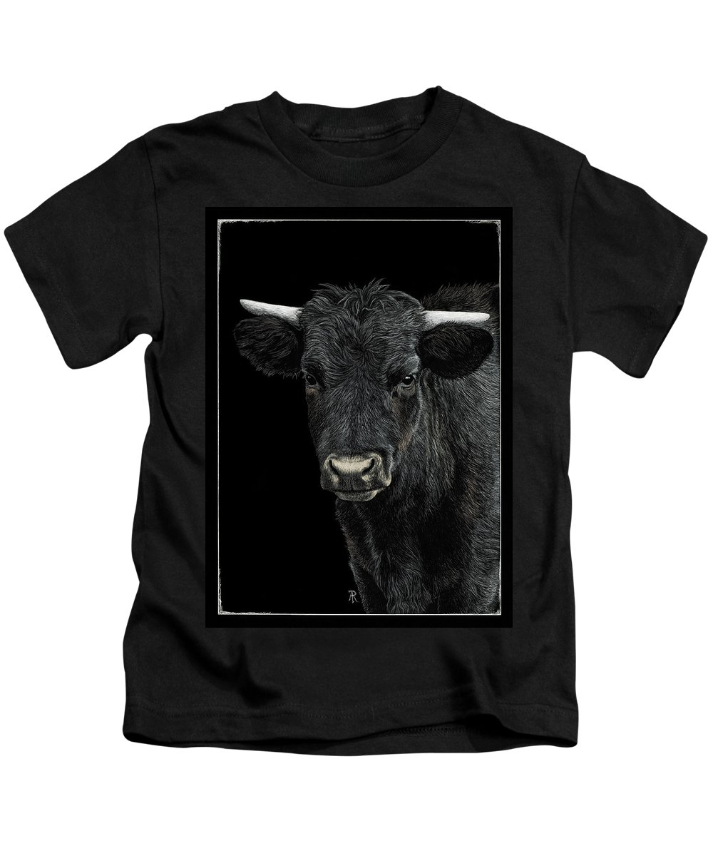 Cow Kids T-Shirt featuring the drawing Little Moo by Ann Ranlett