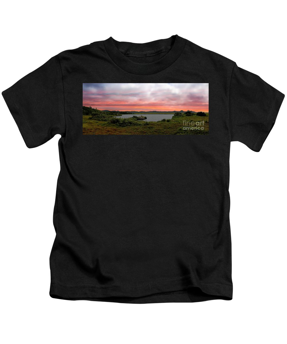 Little Pond Near The Ocean Panorama Kids T-Shirt featuring the photograph Little Pond Near The Ocean Panorama by Barbara Griffin
