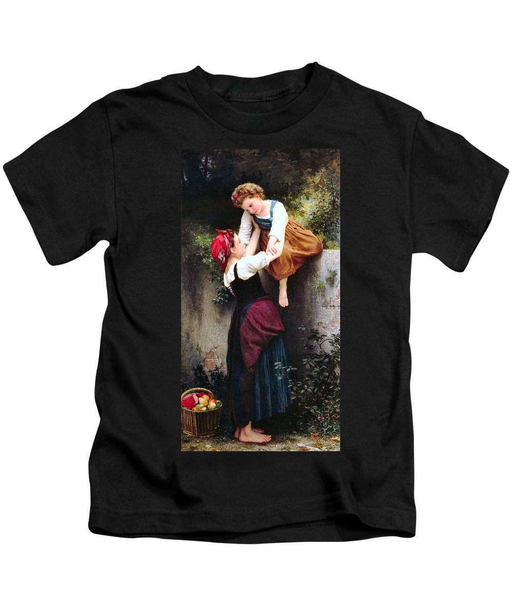 Little Thieves Kids T-Shirt featuring the digital art Little Thieves by William Bouguereau