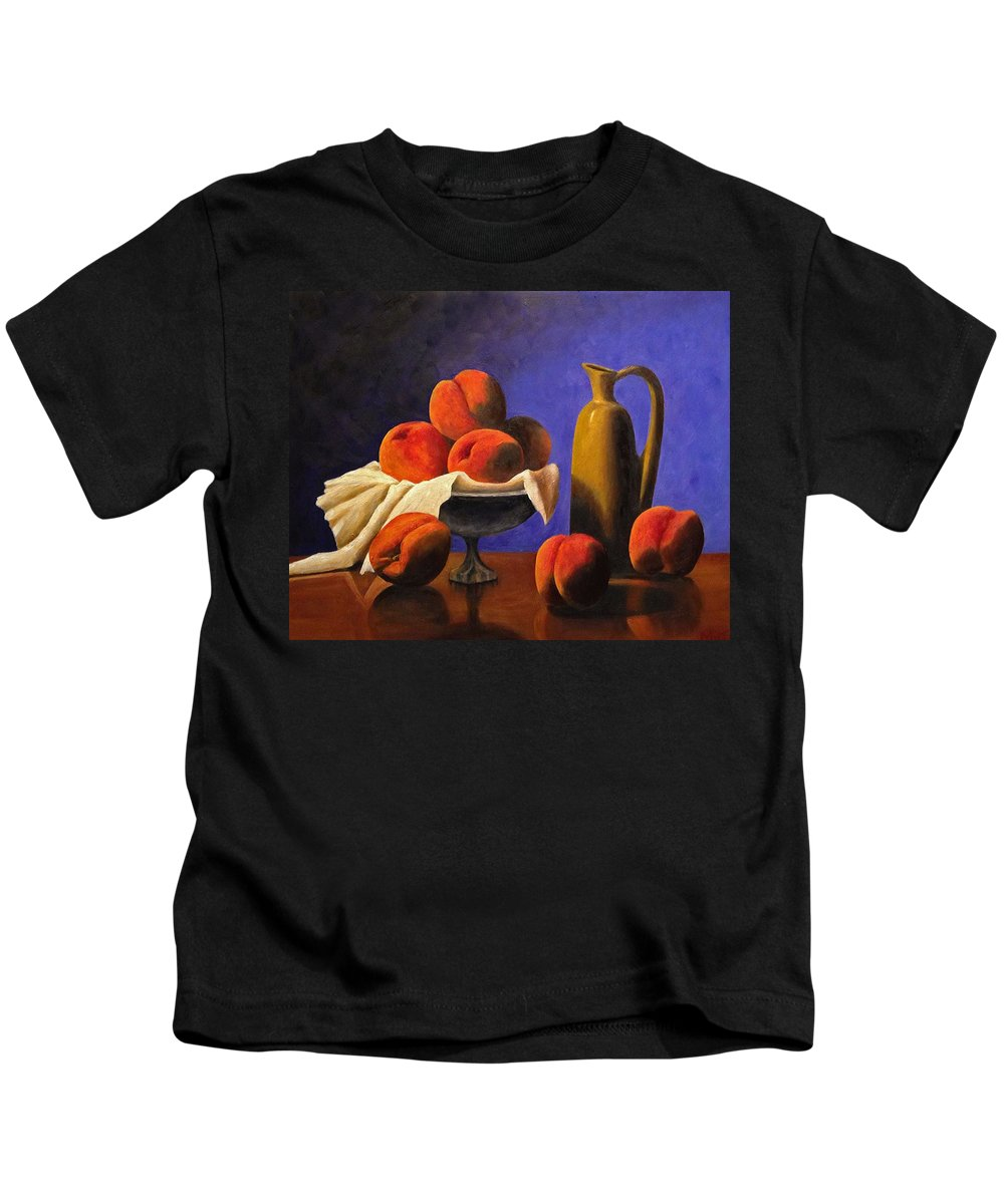 Peaches Kids T-Shirt featuring the photograph Local Peaches Oil Painting by Michael Saunders