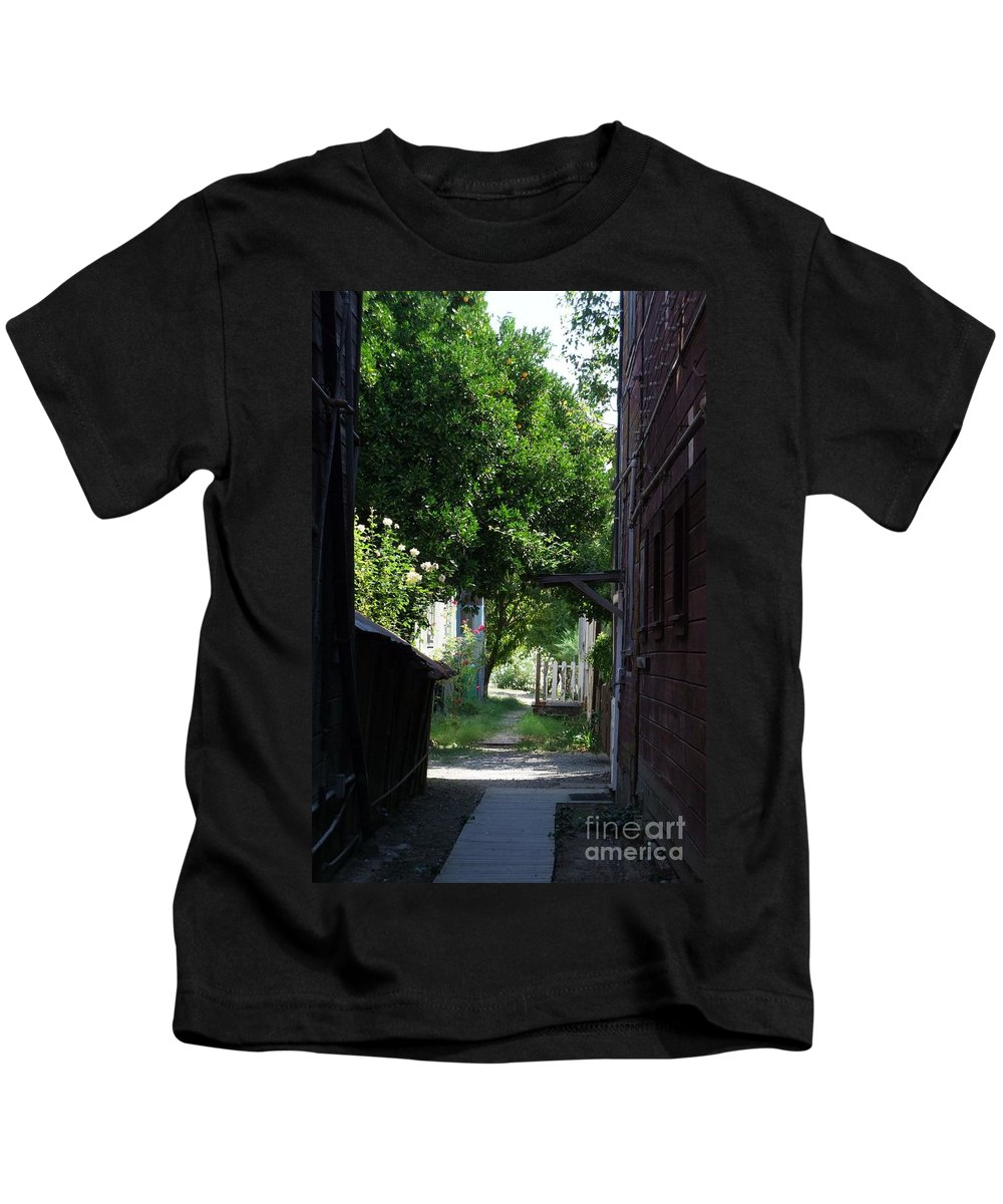 Green Kids T-Shirt featuring the photograph Locke Chinatown Series - Alley With Trees - 5 by Mary Deal
