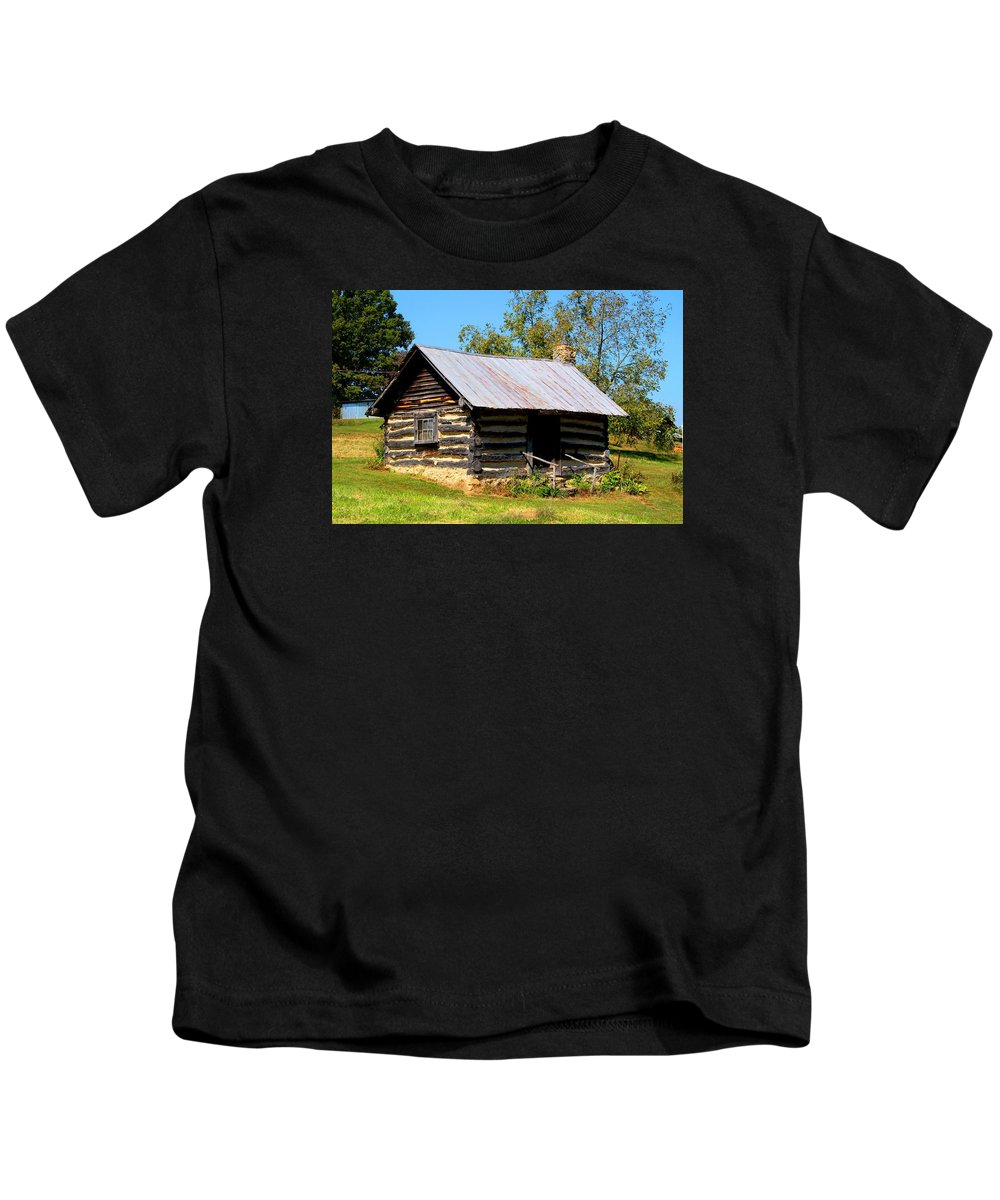 Cabin Kids T-Shirt featuring the photograph Log Cabin by Kathryn Meyer