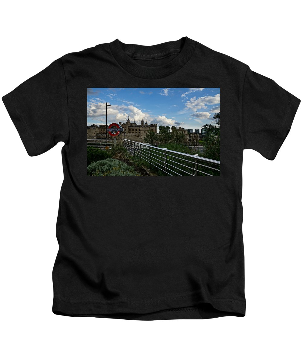 Georgia Mizuleva Kids T-Shirt featuring the photograph London Underground And The Tower Of London by Georgia Mizuleva
