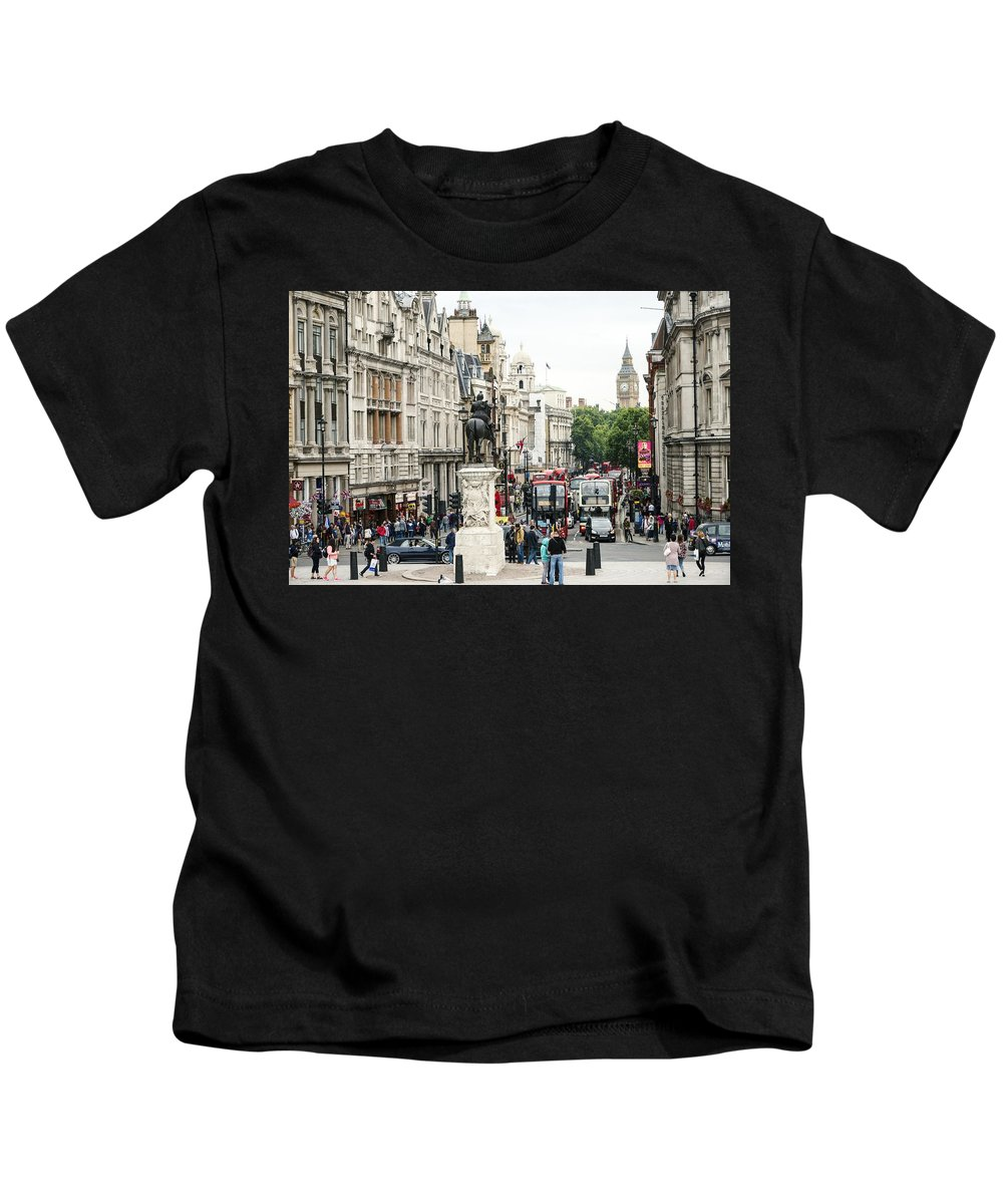 London Kids T-Shirt featuring the photograph London Whitehall by Chevy Fleet