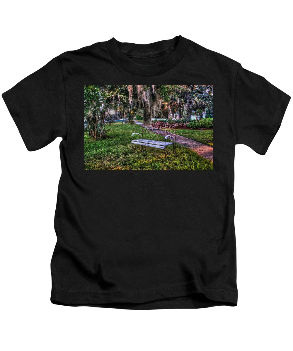 Palm Kids T-Shirt featuring the digital art Lone Bench by Michael Thomas