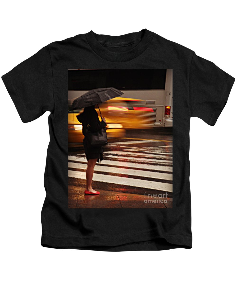 Traffic Kids T-Shirt featuring the photograph Looking For A Taxi - Rush Hour New York by Miriam Danar