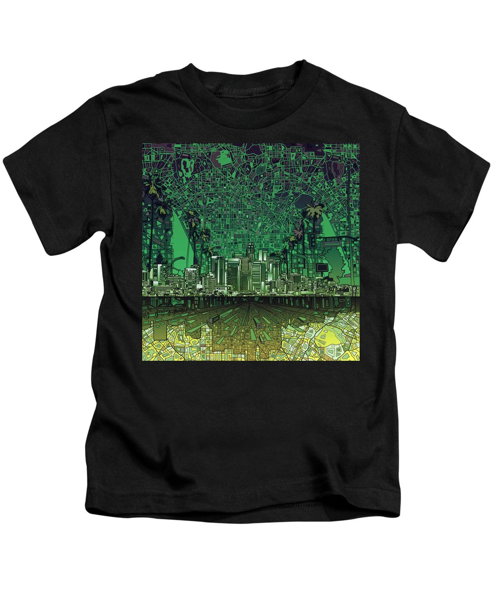 Los Angeles Kids T-Shirt featuring the painting Los Angeles Skyline Abstract 6 by Bekim Art