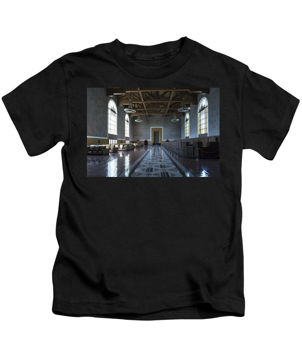 Union Station Kids T-Shirt featuring the photograph Los Angeles Union Station Original Ticket Lobby by Belinda Greb