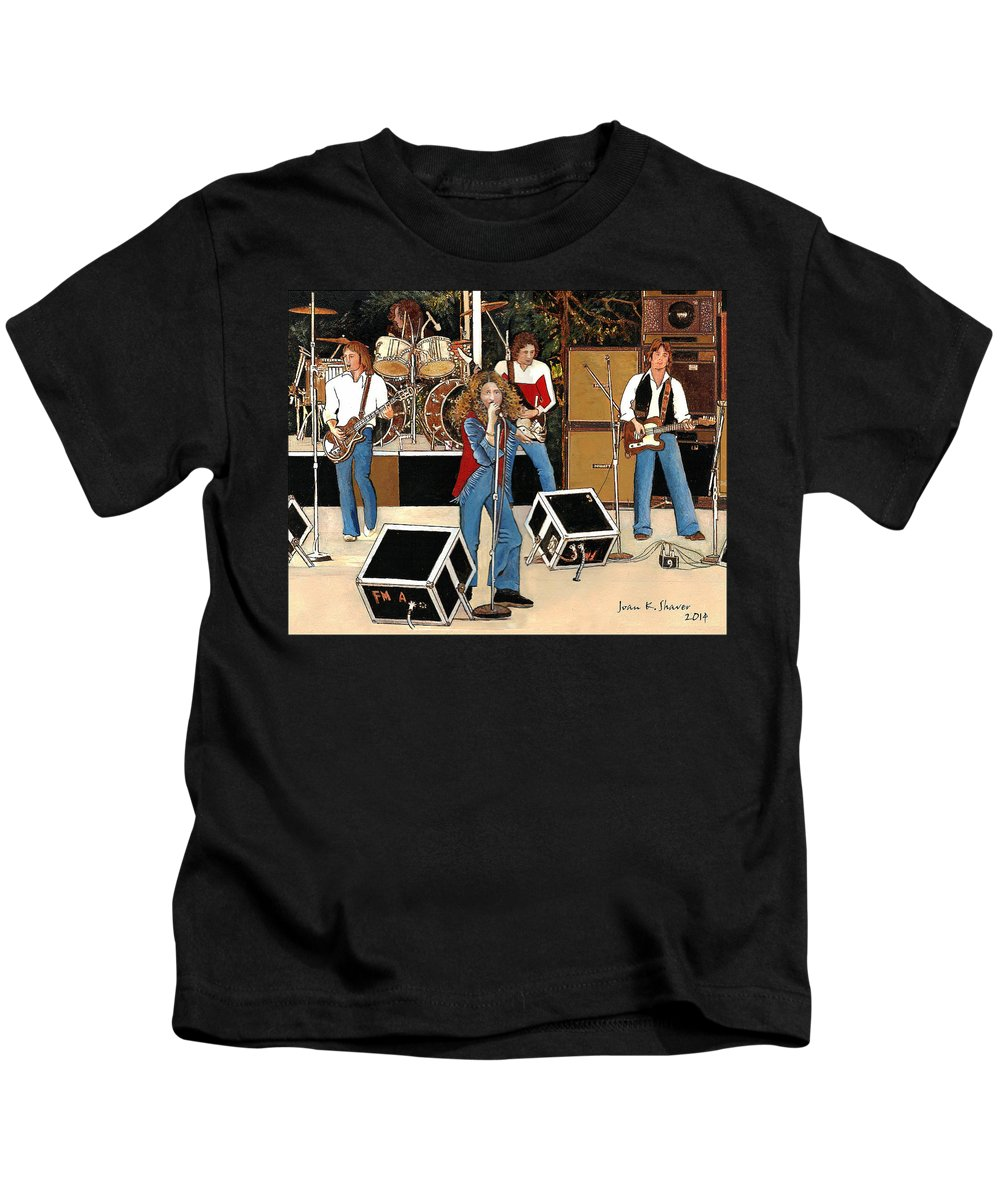 Rock And Roll Kids T-Shirt featuring the painting Lou Gramm-foreigner by Joan Shaver