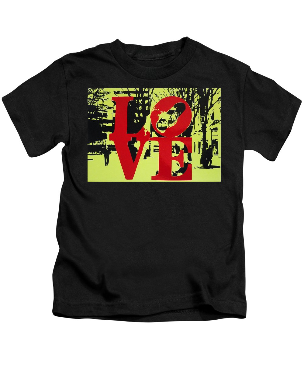 Love Kids T-Shirt featuring the mixed media Love - Red On Lime by Sue Rowe