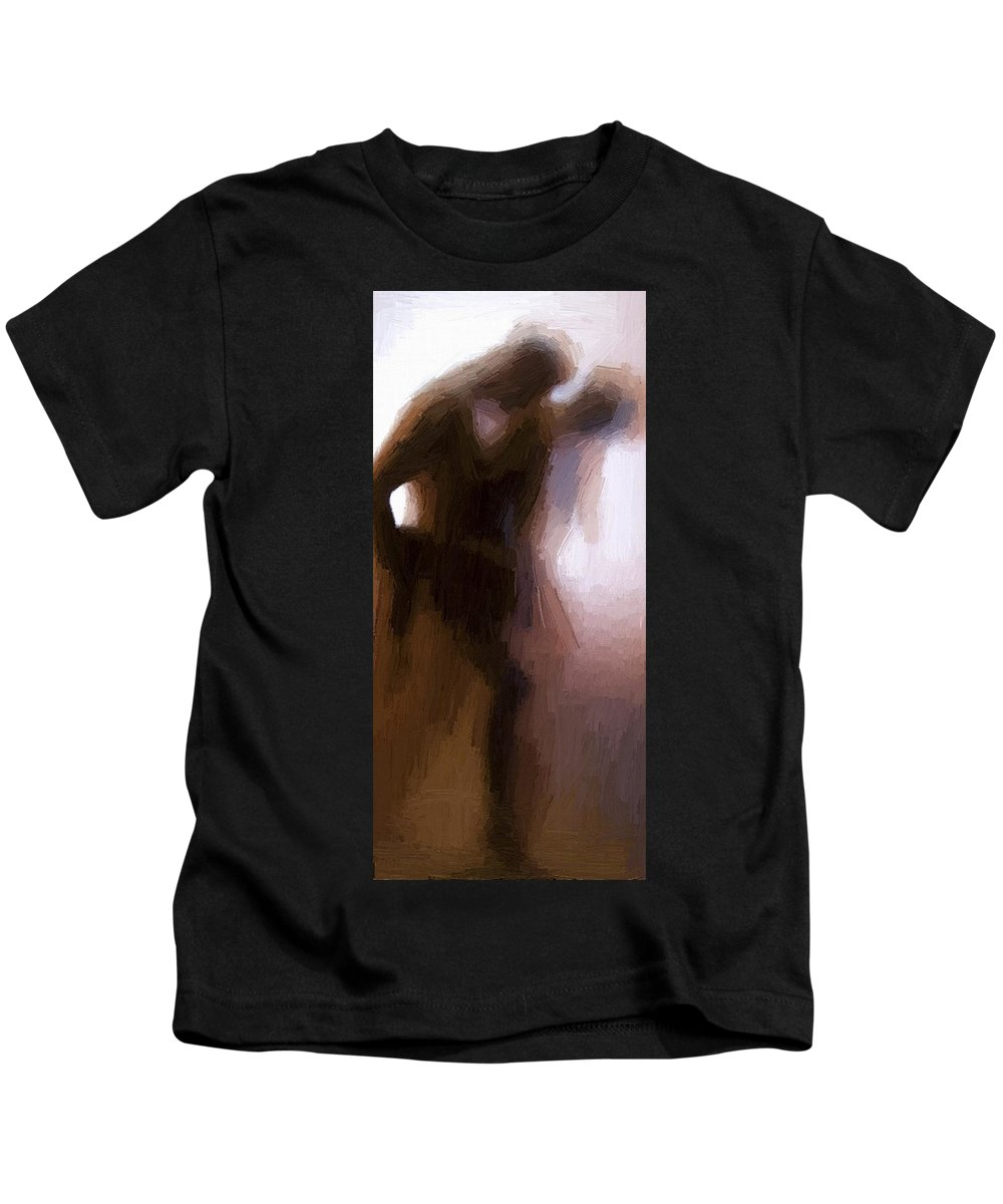Lovers Kids T-Shirt featuring the painting Lovers by Steve K
